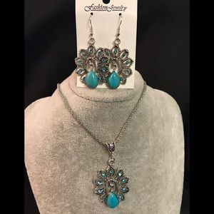 Jewelry - Peacock Necklace & Earrings Set
